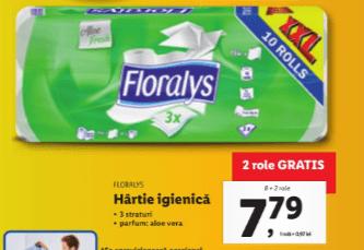 Floralys - hârtie igienică 10 role XXL