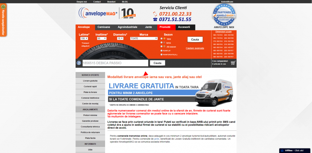anvelopemag.ro transport gratuit