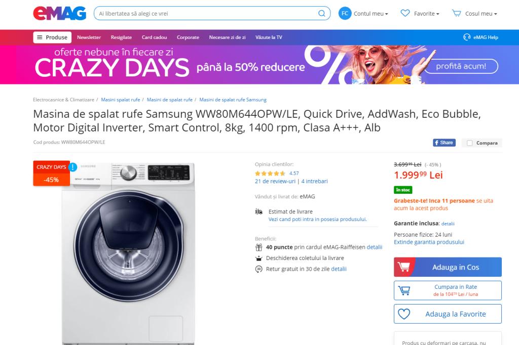 Masina de spalat rufe Samsung 8 kg