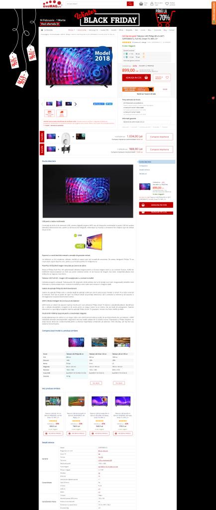 Televizor LED Philips 80 cm, Full HD, Smart TV