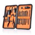 AliExpress | Trusă manichiură / pedichiură profesională cu 18 piese din oțel inoxidabil negru mat